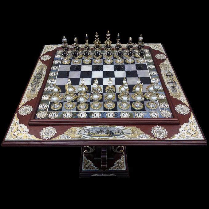 Элитный Шахматный Стол из Дуба и Агата Стратег — 4 Империи